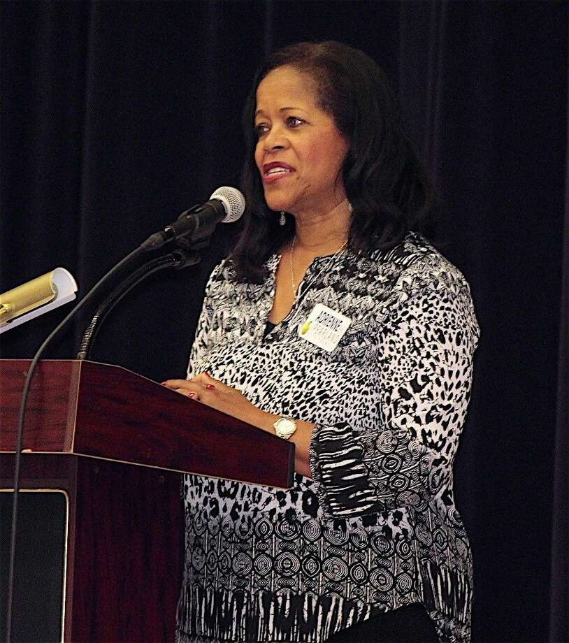 Adrienne Bell answers questions at the Pearland Police Officer's Association Candidate Forum on April 13.