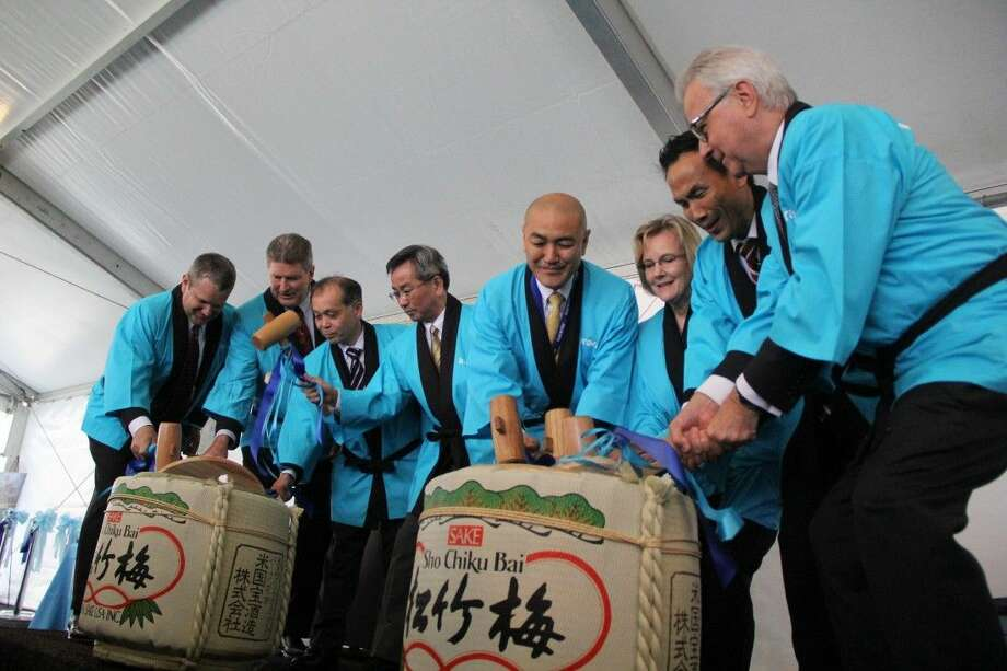 The grand opening ceremony for the new Kuraray Poval Plant included a Kagami Biraki Sake Ceremony, which is a Japanese custom traditionally hosted at the beginning of a large project. Photo: Kristi Nix