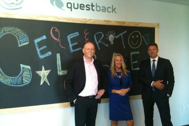 Questback opened its The Woodlands office August 5. From left: CEO Frank Møllerop, President of North America Carol Lee Andersen and Chairman Terje Bakken.