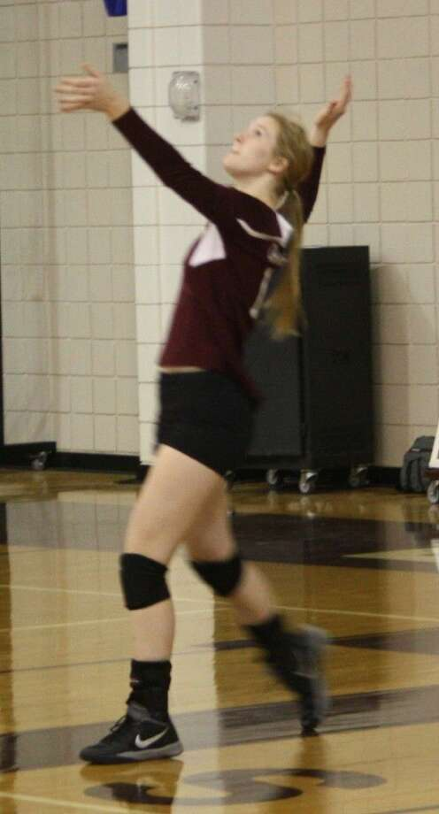 Clair Chapman prepares to serve the ball to the Goose Creek Memorial Patriots' court. Photo: JACOB MCADAMS