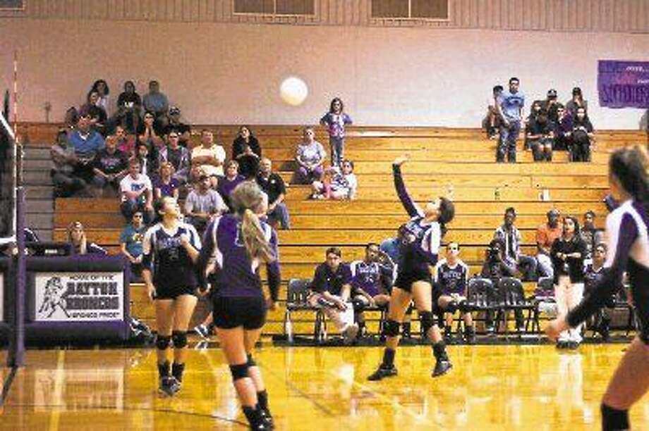 Defensive Specialist Zoe Torres scored the winning kill on this gentle lob to end the third set and the match.