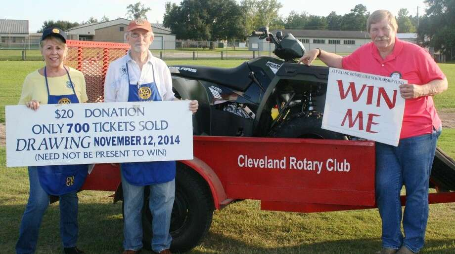 Ernestine Belt, Tommie Daniel and T.W. Garrett were on hand at the Sept. 5 home football game in Tarkington, where they sold raffle tickets for a four-wheeler. Photo: STEPHANIE BUCKNER