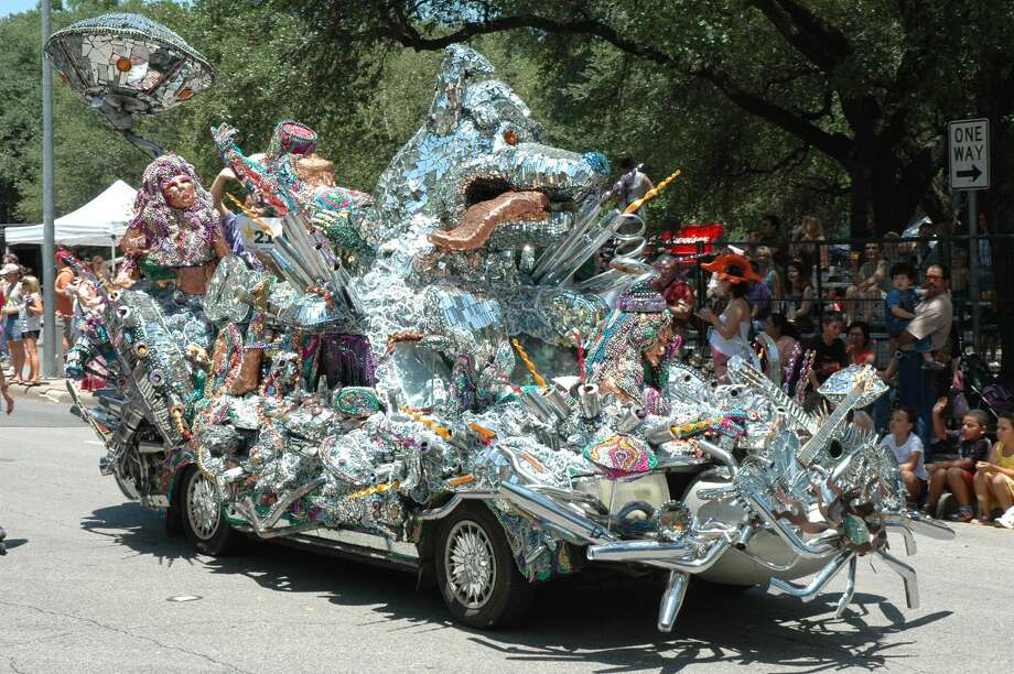 More than 250,000 spectators line downtown's streets to view this parade, which showcases Houston's most outlandish folk art creations on wheels. Pictured here: Atomic Dog Photo: Credit: Greater Houston Convention And Visitors Bureau