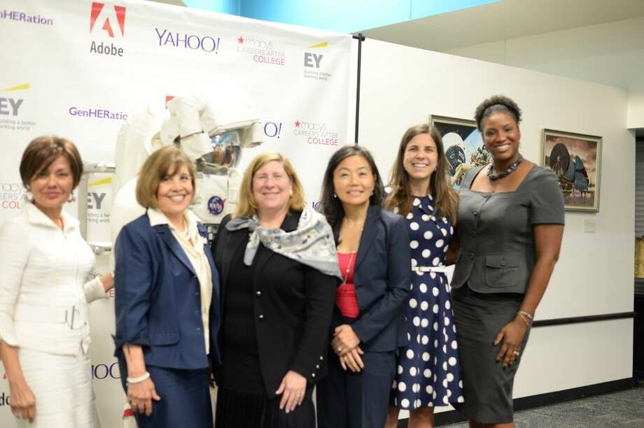 As part of a series of leadership conferences across the United States during the months of July and August, five of the Houston area's most powerful and successful women joined for an opportunity to reach out to the next generation last Wednesday at Space Center Houston. (left to right) Samina Farid, Helen Cavazos, Loretta Cross, Deborah Byers, GenHERation founder Katlyn Grasso, April Day.