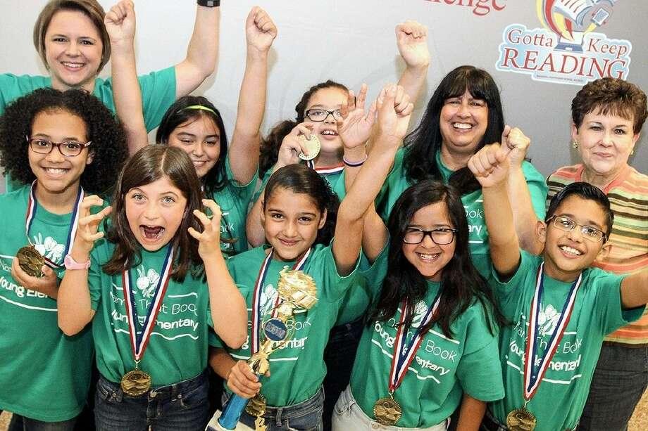Young first place winners: Julie Scott, librarian, Chloe Anderson, Micaiah Ruth, Daisy Anulo, Zuemy Leal, Brielle Rubio, Destiny Calixto, Rita Via, fourth grade teacher, Ethan Garza, Shirlyn Ross, principal.