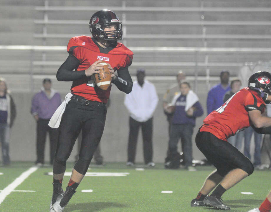 Porter's Jake Hall drops back to pass against Dayton at New Caney ISD Stadium on Friday in New Caney.