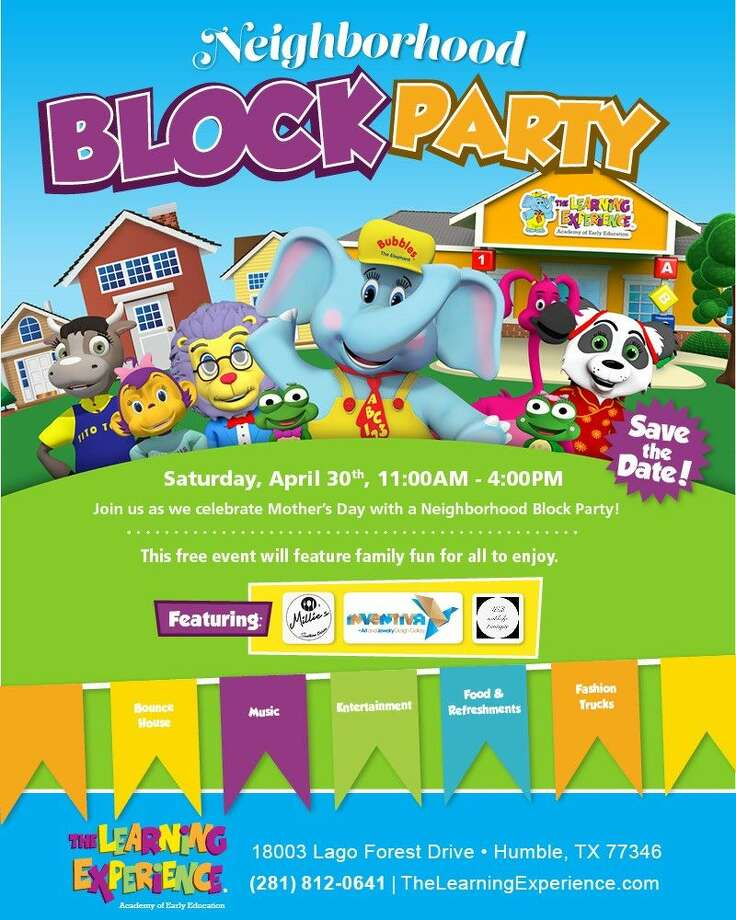 The Learning Experience, one of the nation's fastest growing Academies of Early Education for children 6 weeks to 6 years old, in Atascocita invites the community to attend its free Neighborhood Block Party at 18003 Lago Forest Drive in Atascocita on Saturday, April 30 from 11 a.m. to 4 p.m.