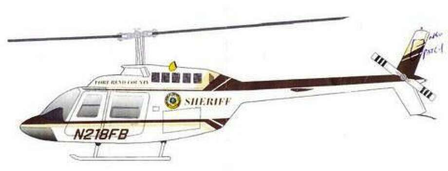 An artist's sketch of what the OH-58A Kiowa helicopter obtained byFort Bend County Sheriff's Office will look like once its repainted and refitted for police observation. Photo: Submitted