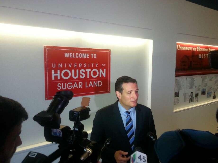 U.S. Senator Ted Cruz speaks to the media following his legislative update at University of Houston Sugar Land on Sept. 3. Photo: Zach Haverkamp