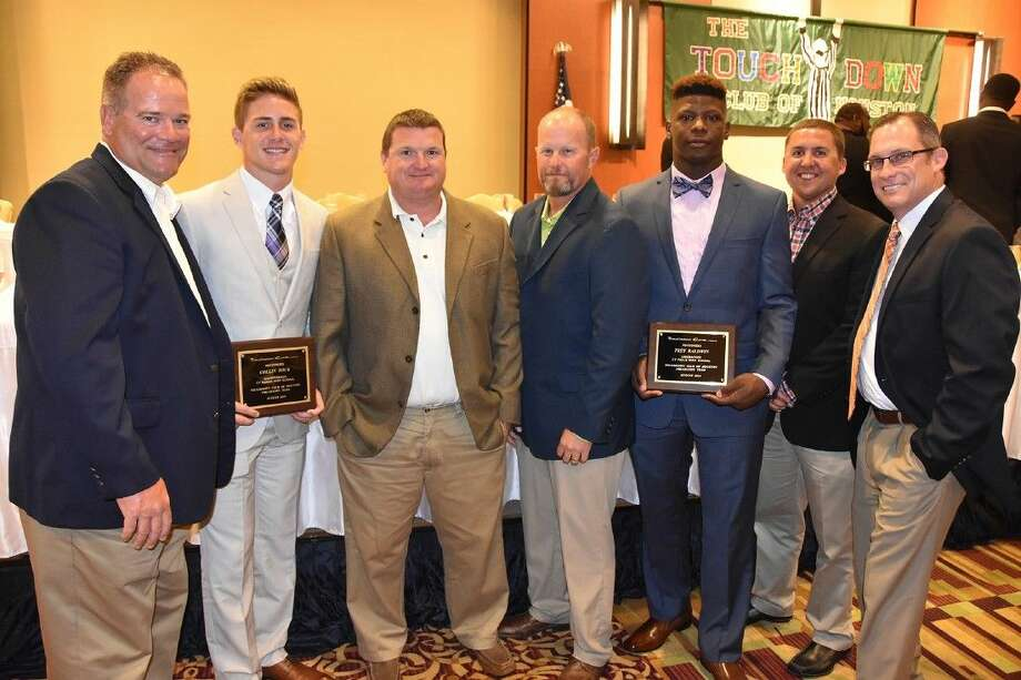 Coaches and administrators honor CFISD's Touchdown Club of Houston Pre-Season Team members during the Touchdowner of the Year Banquet on Aug. 12 at the JW Marriott. Pictured (L-R) are Gene Johnson, Cypress Ranch head football coach and campus athletic coordinator; Collin Rock, Cypress Ranch senior quarterback; Chris Brister, Cypress Falls defensive coordinator; Kirk Eaton, Cypress Falls head football coach and campus athletic coordinator; Trey Baldwin, Cypress Falls senior linebacker, Chris Laird, Cypress Falls linebackers coach; and Ray Zepeda, CFISD associate director of athletics.