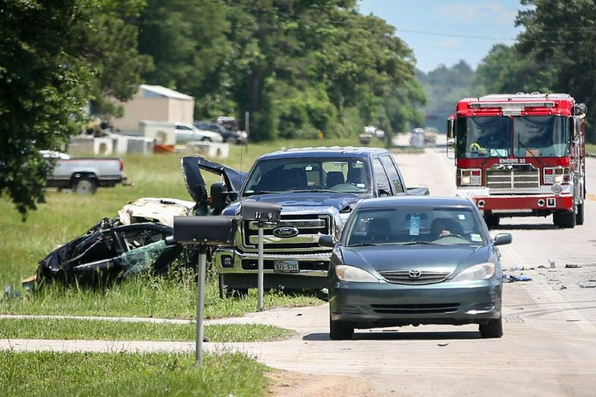 Three people died and one child was injured after a three-vehicle crash Friday on Texas 105 East near South Walker Road.