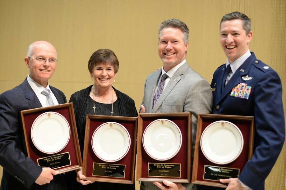 This year's honorees included (from right), LT. CoL. Nathan Colunga, Chad Burke, Jo Keifer and Victor White; all four paid tribute to those who have led them to both professional and personal successes.