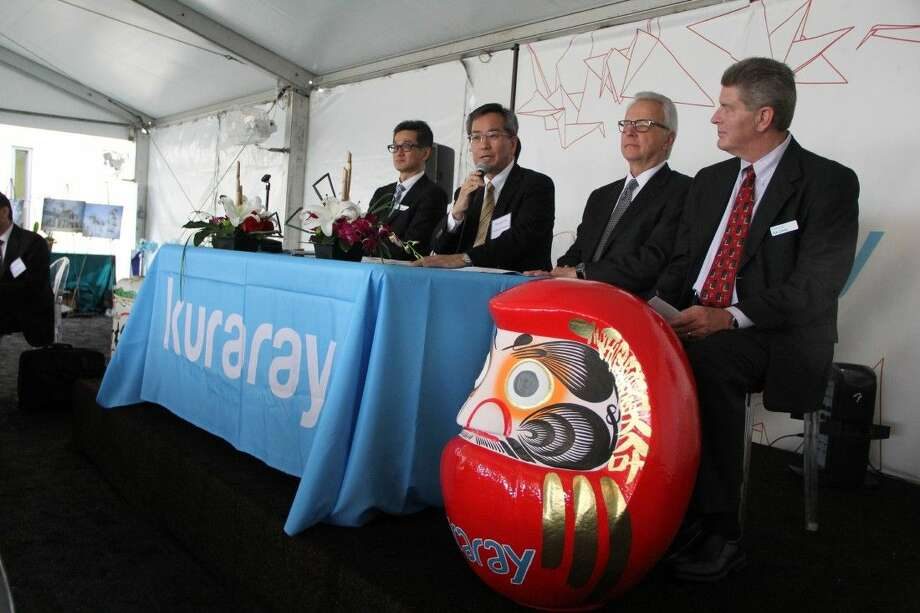 Kuraray company officials answer questions from reporters during a press conference held Thursday (April 21). Photo: Kristi Nix