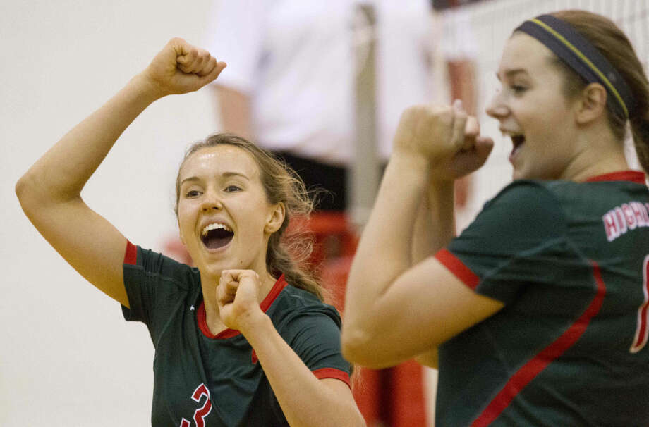 The Woodlands' Hailey Reier celebrates after scoring a point with AJ Koele during a game at the Katy Invitational Saturday. To view or purchase this photo and others like it, visit HCNpics.com. Photo: Jason Fochtman