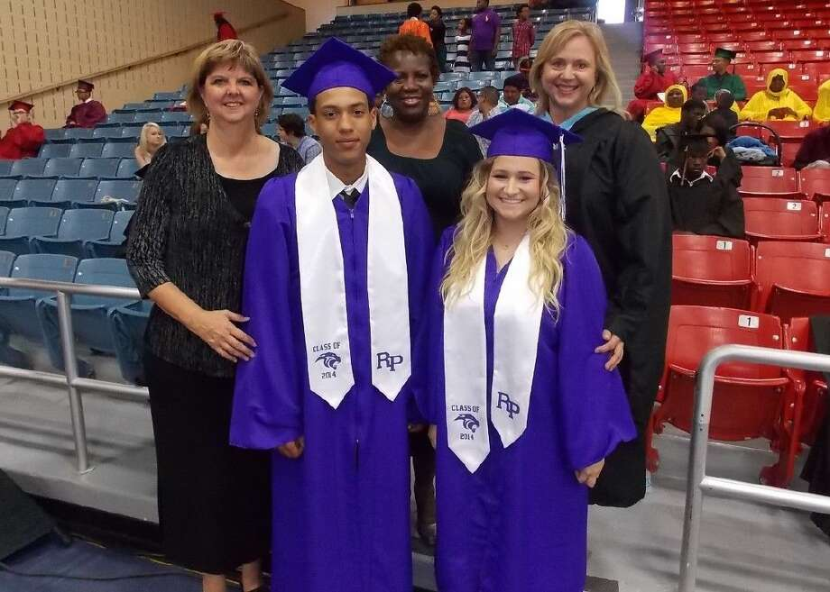Ridge Point High School graduates Fabian Hopkins and Charlotte Eberle are shown with (back, from left) Associate Principal Lori Oliver, Counselor Lynne Shaver and Principal Tammy Edwards. Photo: Submitted