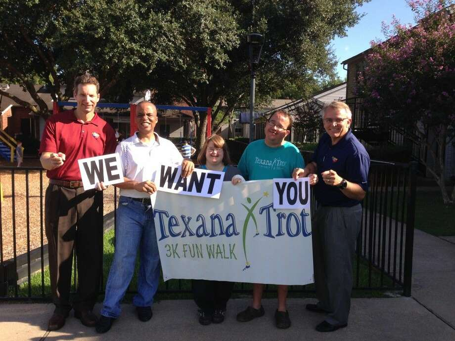 Legacy Ford General Manager Patrick Sexton, Aaron Lindsey, Amy Crane, Wesley Kocian and Legacy Ford owner Ron Ewer want to challenge community members to walk in the Texana Trot. Photo: Submitted