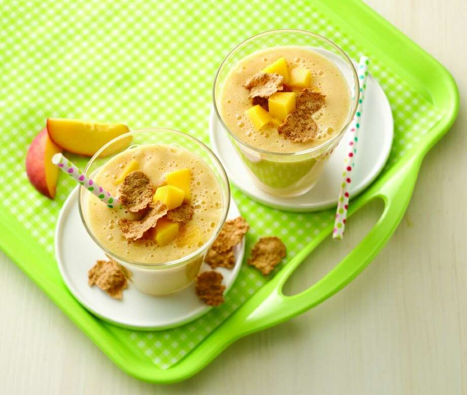 Peach-Mango and Cereal Smoothies are a great way to kick off the school day.