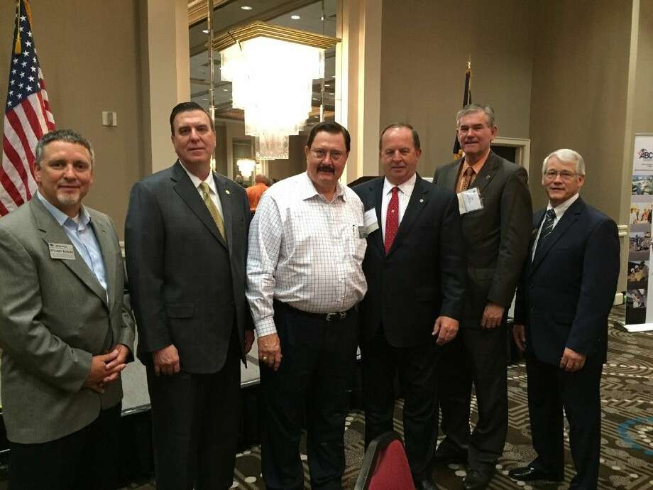 Mobil Steel guests enjoyed hearing positive economic news for Houston and Texas at the Associated Builders and Contractors Greater Houston breakfast. Pictured are Stuart Robles, Business Development manager, Mobil Steel; Dennis Paul, State Representative, District 129; Leonard A. Bedell, President & CEO, Mobil Steel; Wayne Faircloth, State Representative, District 23; Ed Thompson, State Representative, District 29; and, Dennis Winkler, COO, Winkler Public Relations.