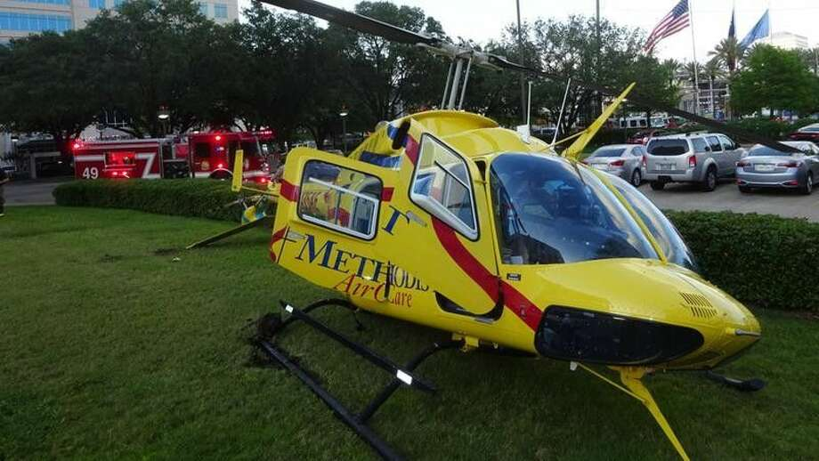 This medical helicopter had a hard landing early Monday evening after dropping off a patient.