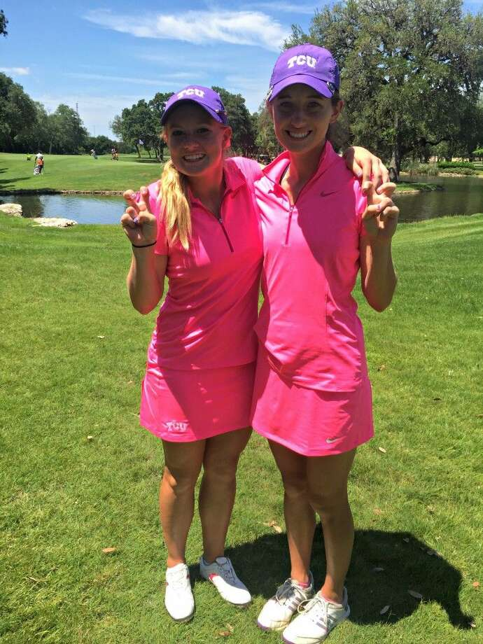 Former TWHS golfers Brooke McDougald, left, and Kelly McGovern helped TCU finish third at the Big 12 Championship.