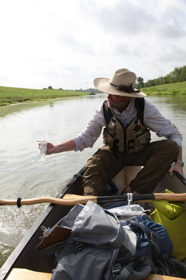 Photo by /bayoupreservation.orgSteve Hupp water quality sampling on Langham Creek. Photo: Bayoupreservation.org
