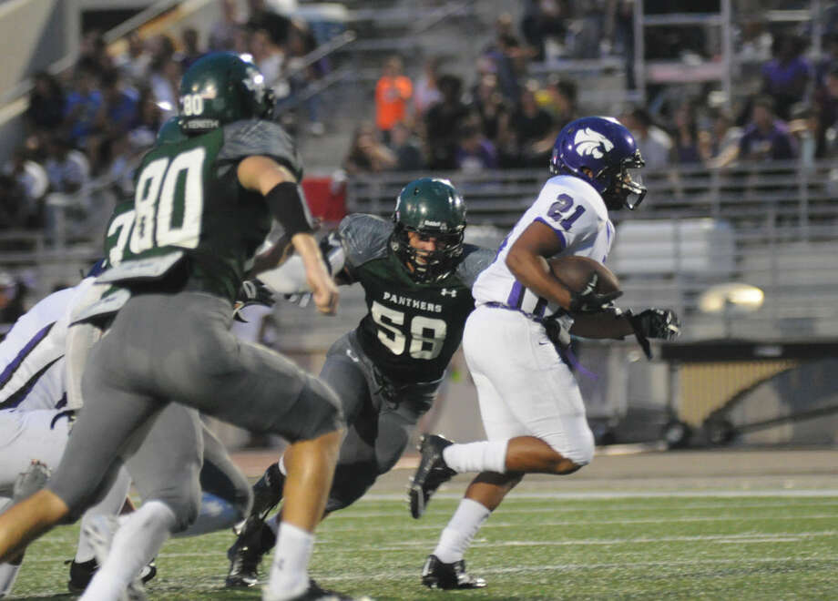 Humble's Frajon Fox finds some running room against Kingwood Park in a District 21-5A game at Turner Stadium on Friday. Photo: Keith MacPherson