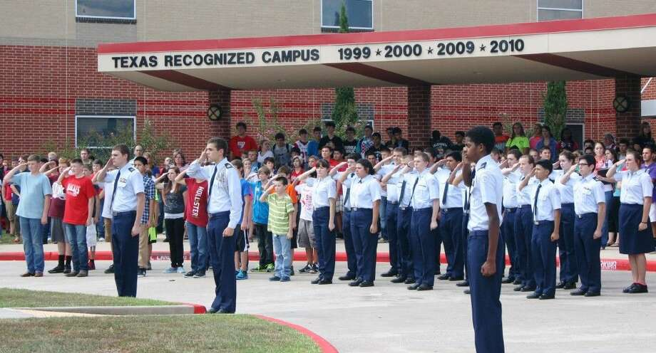 Staff photo by Stephanie BucknerSplendora ISD students gathered on the anniversary of Sept. 11 to commemorate the tragic World Trade Center attacks in 2001. Photo: Staff Photo By Stephanie Buckner