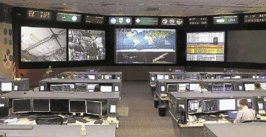 The ISS Flight Control room at Johnson Space Center.
