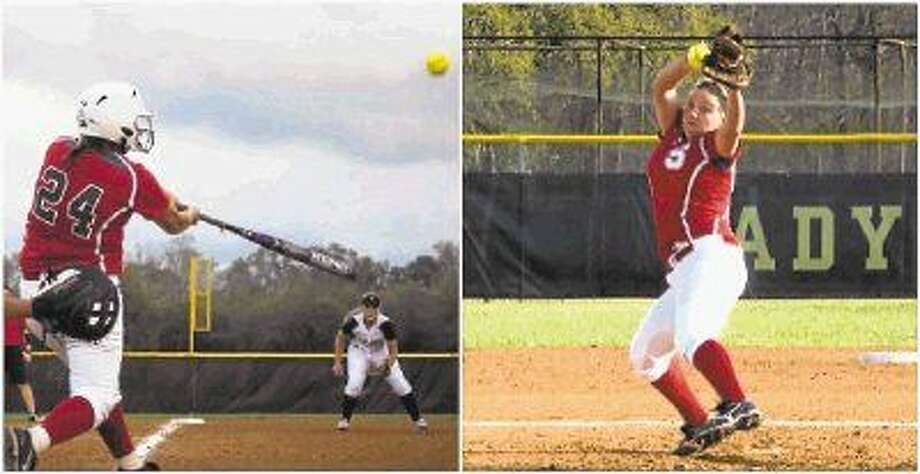 Photo by Casey Stinnett/At left, Alexa Millican connects during at game last spring, and at right Brooke Millican throws some heat in that same game. Photo: Casey Stinnett