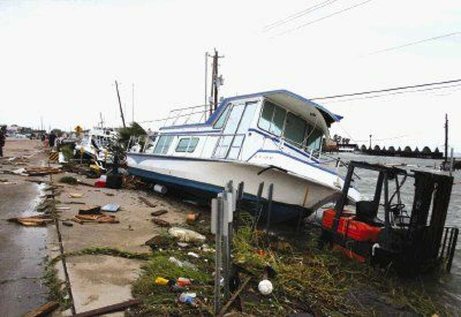 Boats floated up to the Kirby bridge in Seabrook during Hurricane Ike.