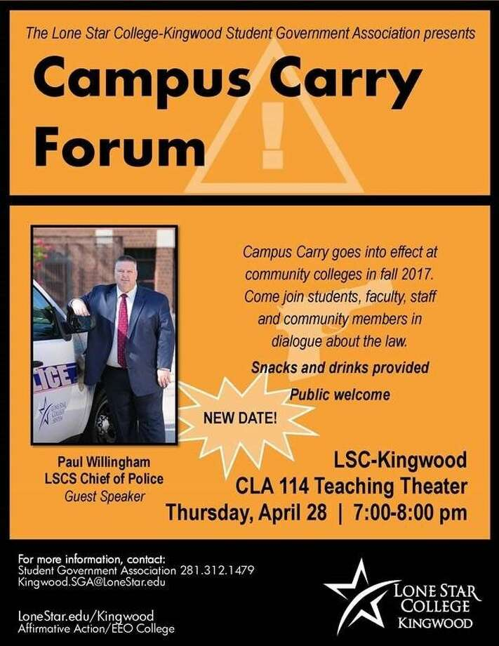 The LSC-Kingwood's Student Government Association (SGA) invites campus and community members to its Campus Carry Forum Thursday to discuss the Campus Carry law that goes into effect at community colleges in fall 2017.
