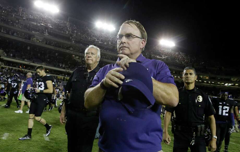 TCU head coach Gary Patterson walks of the field after an NCAA college football game against Oklahoma Saturday, Oct. 1, 2016, in Fort Worth, Texas. (AP Photo/LM Otero) Photo: LM Otero, Associated Press / AP