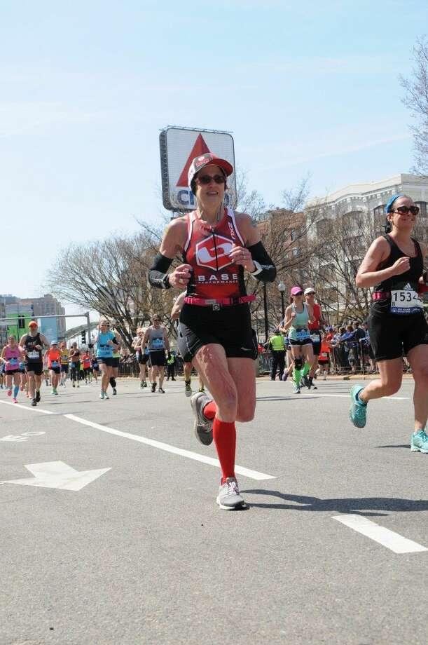 Kingwood resident Debra Hexsel runs in the 2016 Boston Marathon on April 18, 2016.