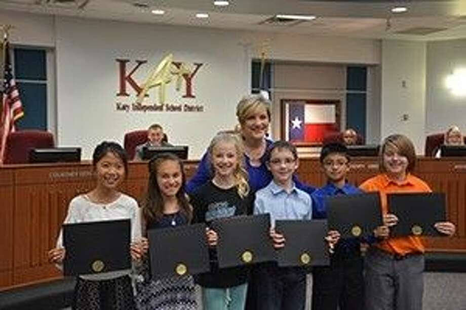 The Fielder Elementary Student Council receives their excellence awards at the KISD board meeting Monday night Photo: Courtesy Of Katy ISD