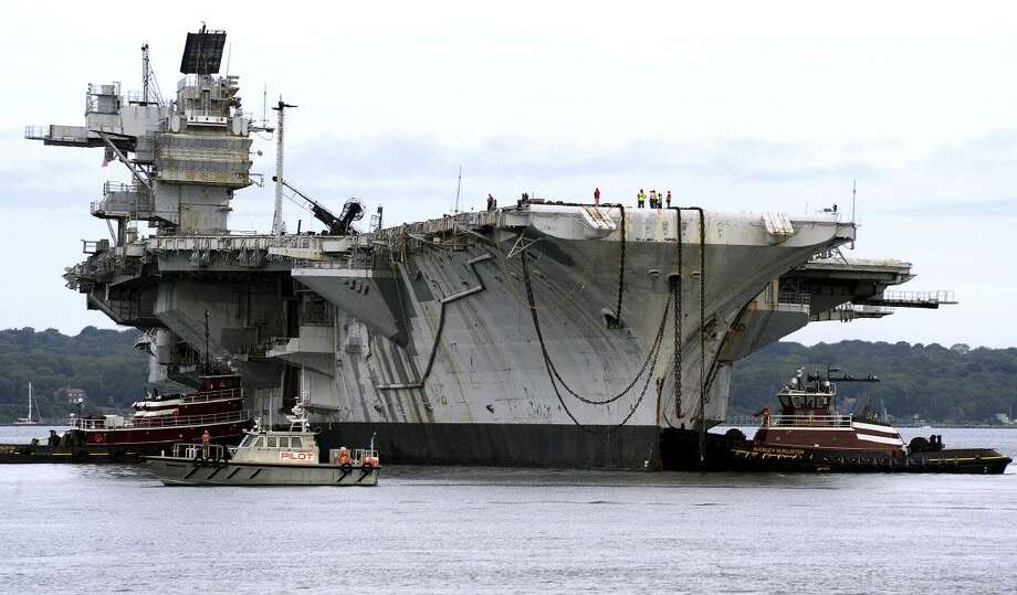 Associated Press photoIn this photo released by the U.S. Navy, the decommissioned aircraft carrier USS Saratoga is towed on her final voyage Aug. 21 from Naval Station Newport in Newport, R.I., to the Esco Marine ship recycling plant in Brownsville, Texas, where it will be scrapped.