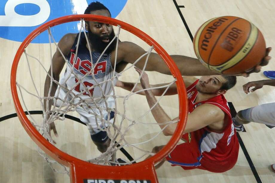 AP photoThe Houston Rockets' James Harden, left, had 23 points in Team USA's 129-92 victory over Serbia for the Basketball World Cup.