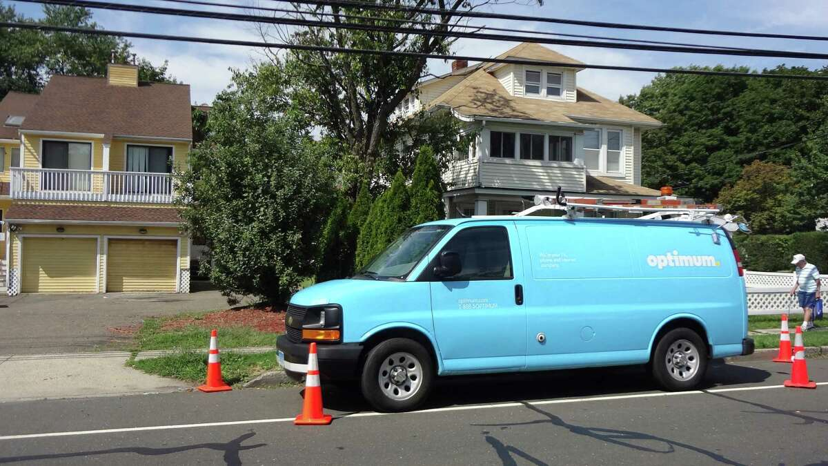 An Optimum service van of Altice on an August 2016 service call in Norwalk, Conn.