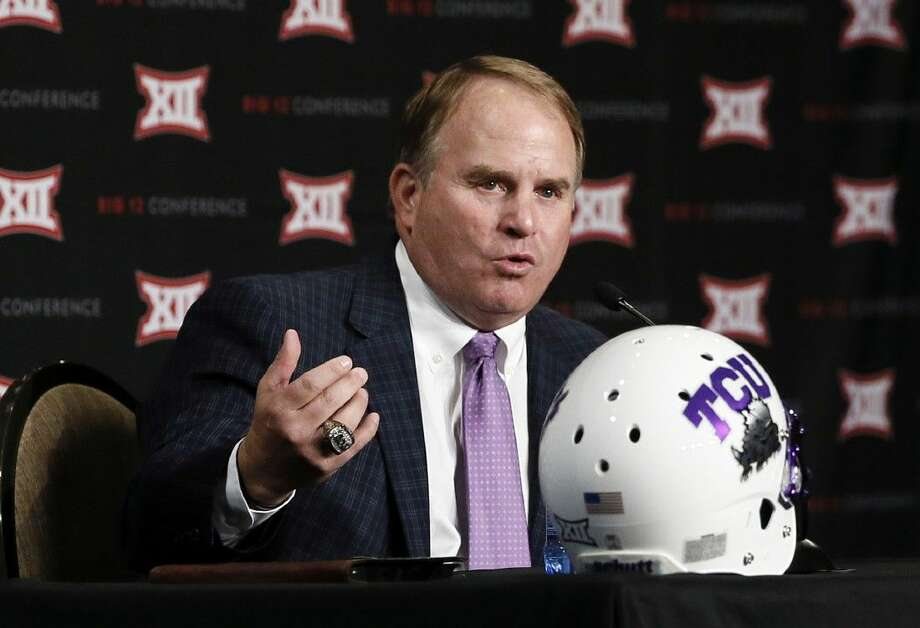 TCU head football coach Gary Patterson responds to questions from reporters at Big 12 Conference Football Media Days in Dallas.