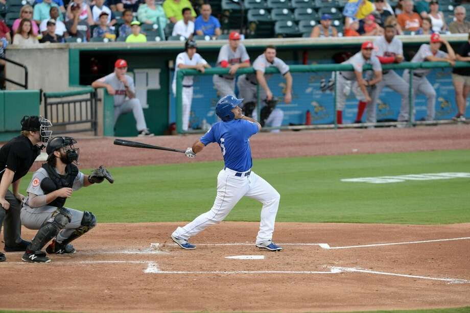 Kevin Russo drove in a run as the Sugar Land Skeeters defeated visiting Bridgeport 7-5 on Aug. 19 for their second consecutive victory. The teams have four games remaining in their seven-game series at Constellation Field. Photo: Staff Photo By Craig Moseley