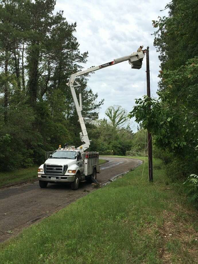 The April 27, 2016, storm knocked out power to 30,000 customers of Sam Houston EC. By the end of the day, service was restored to 25,000. Photo: Submitted