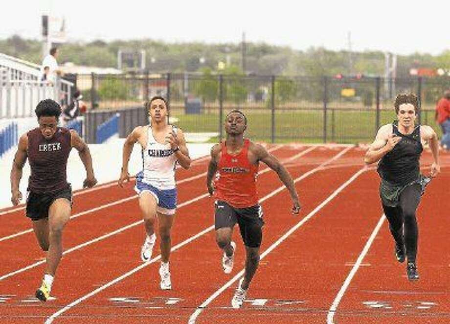Clear Brook's Brandon Taylor (center), one of the fastest sprinters in the nation, will lead the Wolverines at the Region III-6A track and field meet this Friday and Saturday at Challenger/Columbia Stadium. Photo: Kar B. Hlava