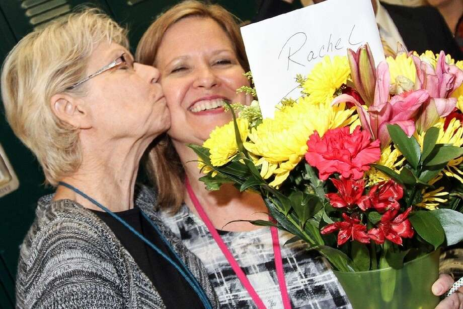 Park View seventh grade math teacher Rachel Matthews' mentor, Jean Duffy, congratulates her on being named the Intermediate New Teacher of the Year. Photo by Reesha Brown.