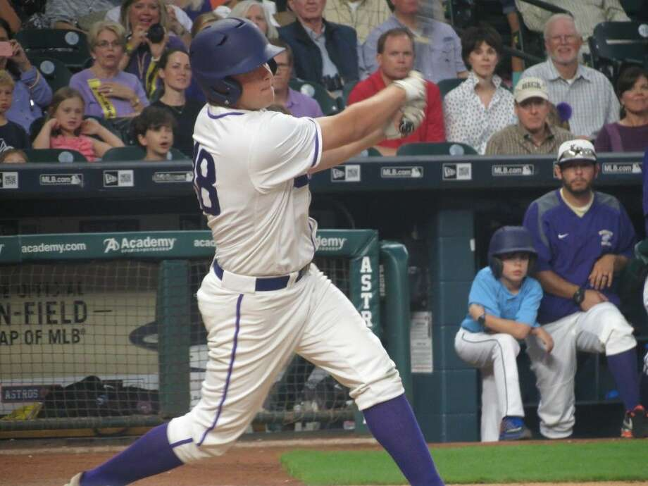 Davis Sheffield connects on an RBI single against St. John's. Kinkaid improves to 6-0 in SPC play.