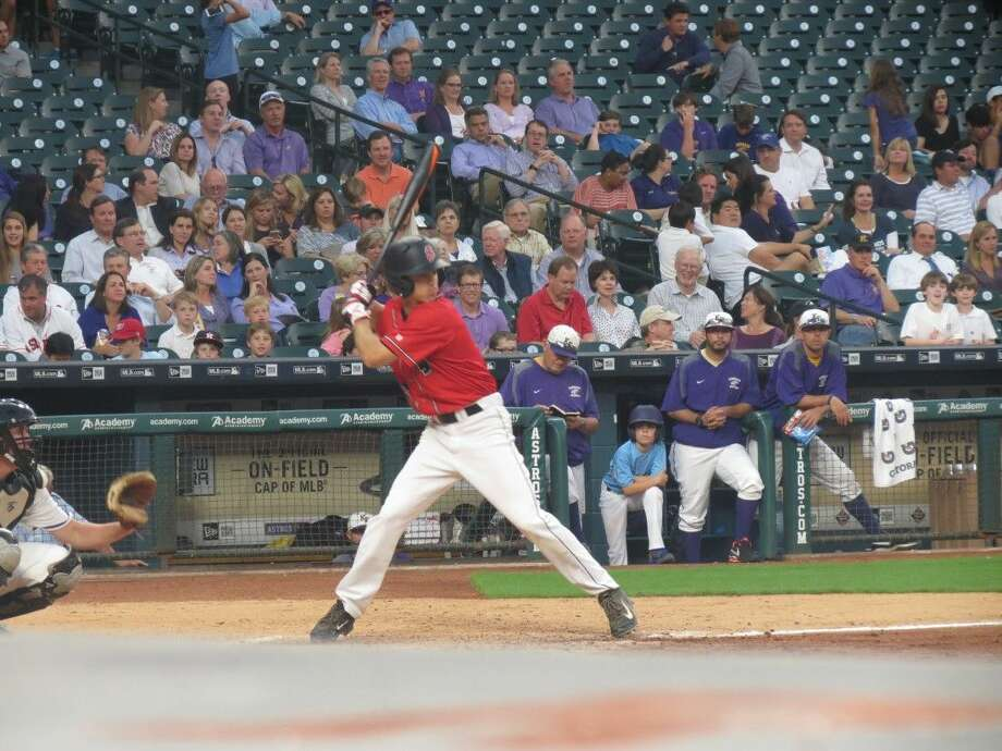 Peter Stone (13) steps in to bat against Kinkaid at Minute Maid Park.