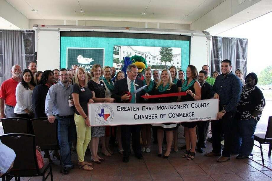 The Greater East Montgomery County Chamber of Commerce and Lake Houston Area Chamber of Commerce celebrated the grand re-opening of Homewood Suites by Hilton at Kingwood Parc with a ribbon cutting ceremony Aug. 13, 2015.