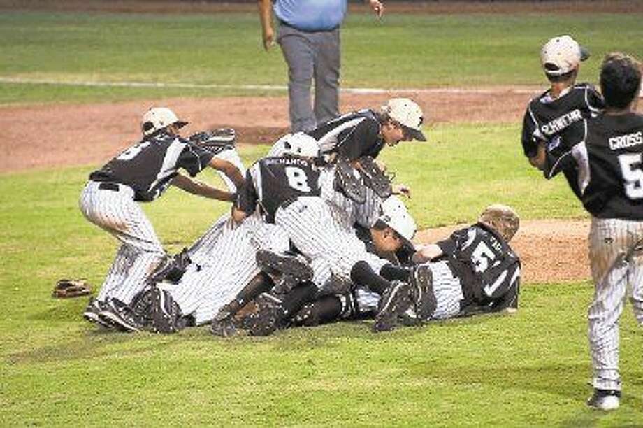 Pearland West Little League players celebrate after defeating North Boulder, Colorado in the Southwest Regional Championship game in Waco Thursday, Aug. 13.
