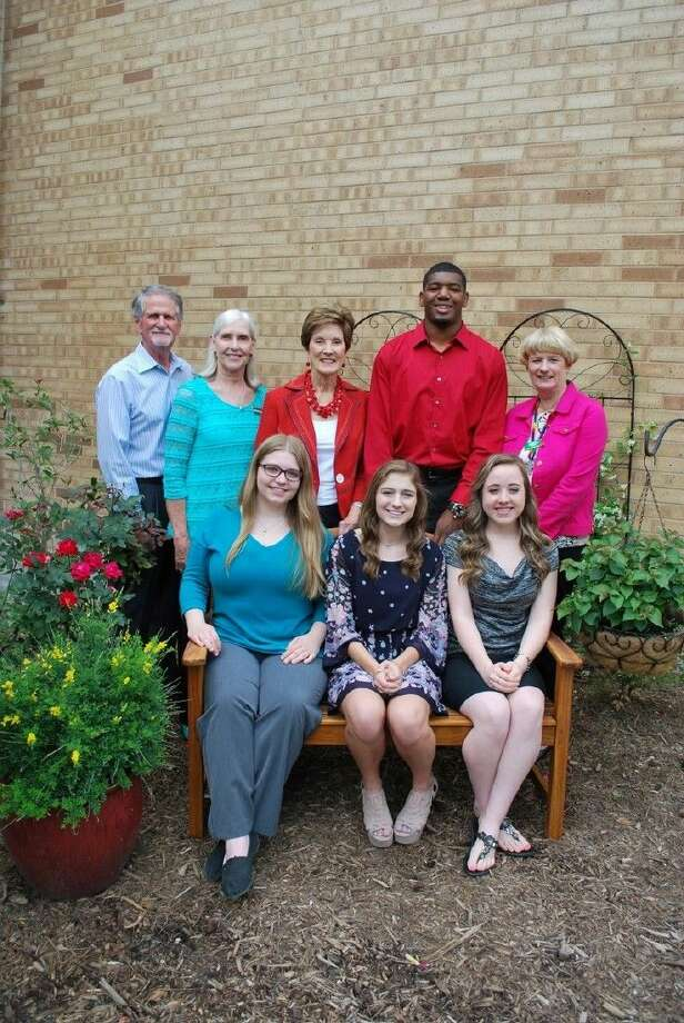 Pictured left to right, front row, scholars: Zoey Elrod, Victoria Long, and Ashley Green. Back row, Committee Members: Ken White, Nancy Bray, Judy Monaghan, Scholar Andre Mickles, Jr. and Diana Rutherford.