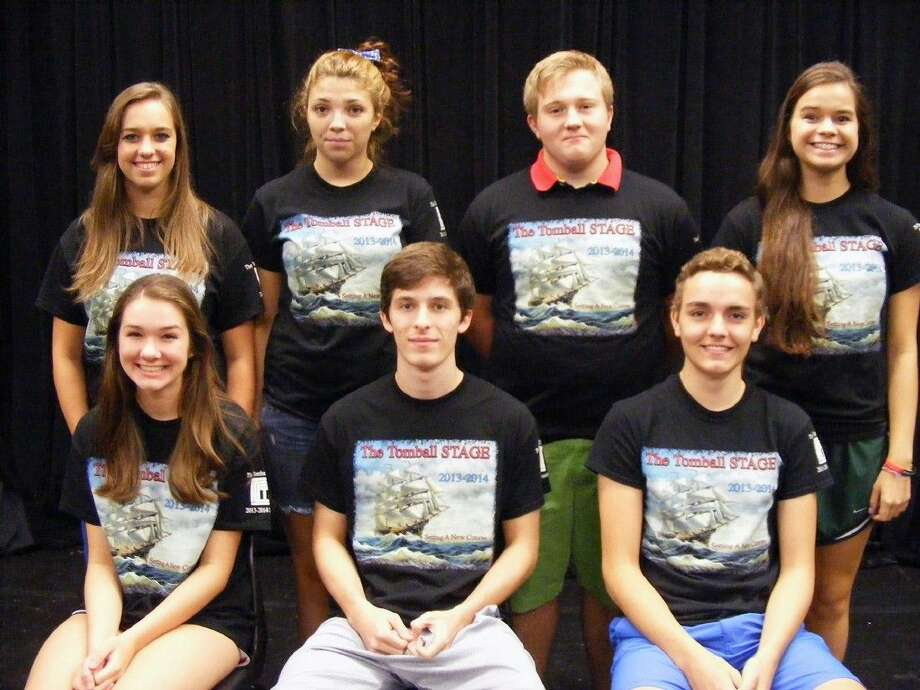 The 2014-2015 Tomball STAGE officers include (first row, from left) President Katie Pavlas, junior; Vice-President Kaleb Bigley, senior; Business Manager Michael Murray, junior; (second row) Historian Calianne Timothy, senior; Parliamentarian Shelby Barrette, senior; Publicity Officer Sam Sharp, junior; and Secretary Emily Swonke, junior.Submitted photo Photo: Submitted Photo