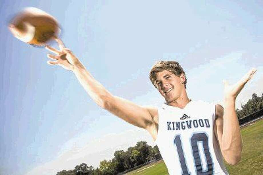 Mustangs quarterback Dawson Trudell (10) poses for a portrait Aug. 11, 2015, at Kingwood High School.