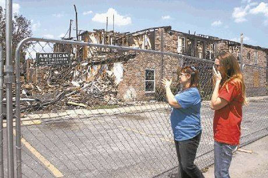 Aprille Williams and Cortni Breman are overwhelmed by the devastating ruins left following the Gentry House Apartment fire. The duo manage St. Christopher's/Houston Hospice Resale Shop and continue to aid victims who fled the blaze.